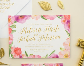 Floral Wedding Invitations, Watercolor Flowers & Gold Calligraphy Script, Pink Watercolor Invitation Suite for Spring Wedding DEPOSIT | Posy