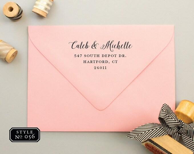 RSVP Address Stamp with Wood Handle, Custom Rubber Stamp, Return Address Stamp for Wedding Invitations, Wedding RSVP Stamp