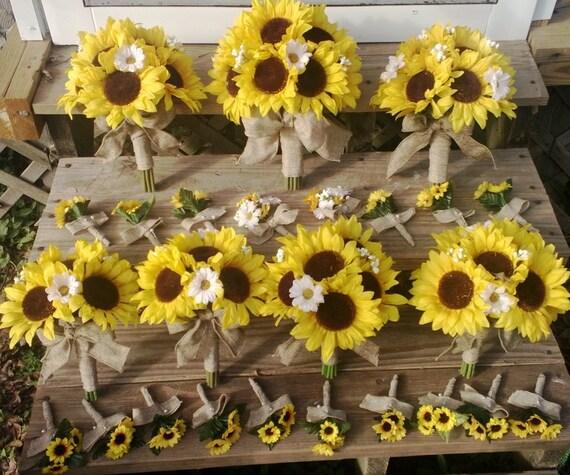 Sunflower Wedding Bouquet Ideas: Sunflower Bouquet 17 Piece Set Sunflower By SilkFlowersByJean