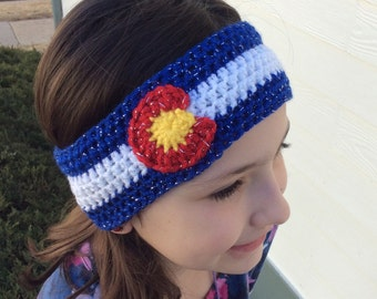 Crochet Sparkle Colorado Flag Headband Ear Warmer- Baby, Toddler, Child, Teen, Adult Sizes, Colorado Earwarmer