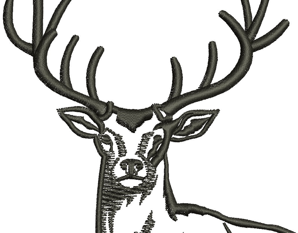 Deer machine embroidery design instant download