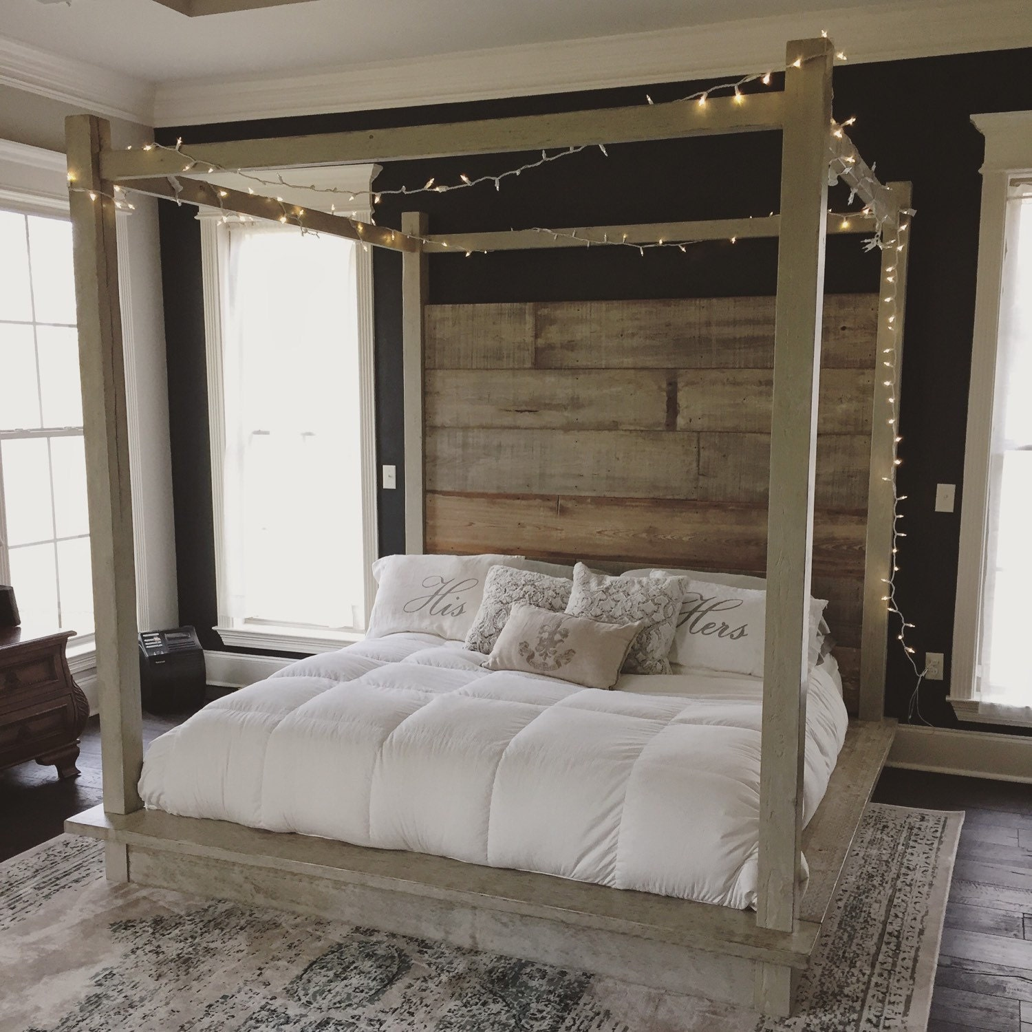 White Wood Bed ~ Reclaimed wood canopy bed white