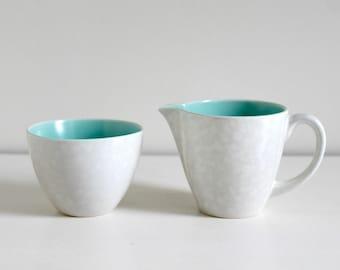 Vintage Midcentury 1960s Poole Pottery Twintone Streamline Sugar Bowl and Milk Jug- C57 Ice Green Seagull
