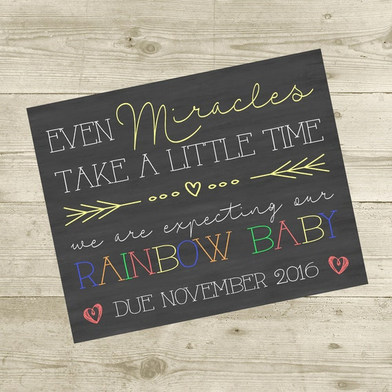 Even Miracles Take A Little Time Pregnancy Announcement Sign