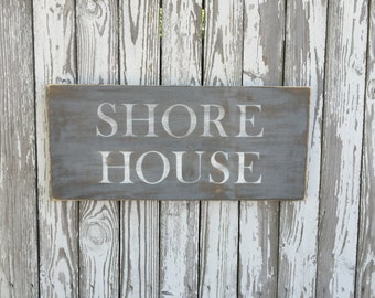 Shore House Sign, 70 Color Options, Wood Beach Sign, Beach Wood Sign, Cape Cod Sign, Vineyard Sign, nautical sign, Beach House Sign,