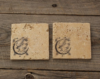 Crescent Moon Stone Coaster set, Backsplash tile, Rustic Decor,  Travertine Tile coaster, Tumbled stone tile, drink coaster