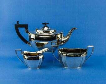 Silver Plated Tea Set Teapot Sugar Bowl Creamer Williams Antique English Early 1900s