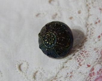 Flower Center Iridescent Black Glass Button