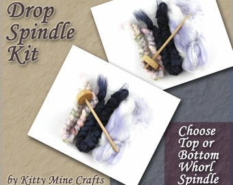 Drop Spindle Kit - Top or Bottom Whorl Spindle - 3oz of Roving - Spinning - Link to Video Tutorial included - Learn to Spin - Sparkle