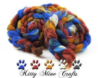Sweater Weather 75/25 BFL Wool and Carbonized Bamboo Roving - 4oz/ 113g - Felting - Wool Top - Spinning Supplies - Fall Colors
