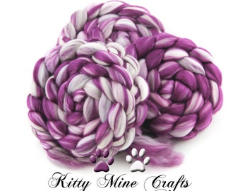 Berry Soft - Superfine Merino, Silk, and Faux Cashmere - 4oz/113g - Spinning Fiber, Felting Wool - Wool Roving - Phat Fiber