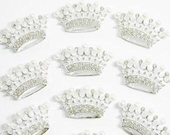 Small Tiara Silver Metal Rhinestone Faux Ivory Pearl Crown Embellishment Flatback Accessory DIY Hair Bow Headband Craft E37ne 1 Piece