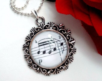 Music note necklace Silver glass pendant Sheet music jewelry Handmade women accessories