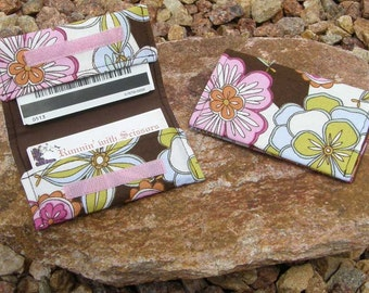 Brown and Pink Floral Business Cardholder/Mini-Wallet