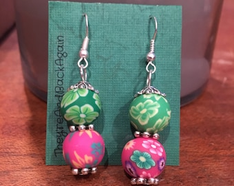 Green&Pink Flower Clay Bead Earrings