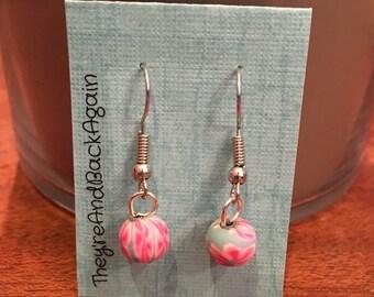 Pink&Blue Flower Clay Bead Earrings