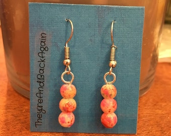 Pink&White Marbled Bead Earrings