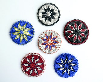 6 vintage african coasters, pearls and leather