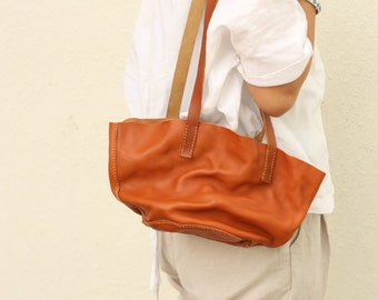 Minimalsite Hand Stitched Washed Out Leather Tote Bag / Carry On Bag /  Hand Bag