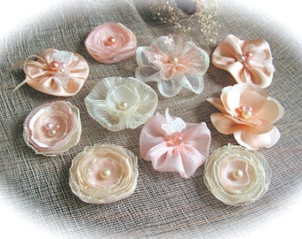 Wedding Flowers  Centerpiece Peach  Flowers  - for wedding decorations, - set of 10.