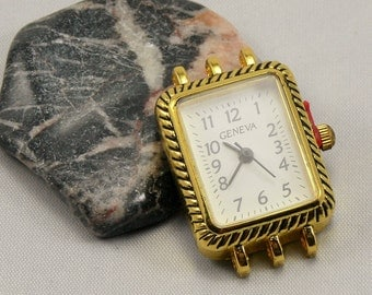 Gold plate 3 strand Watch Face | Rectangle | Japanese movement - Water Resistant |  Stainless Steel back | Make your own beaded watch!
