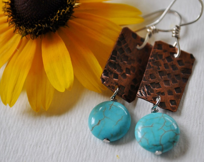 Copper and turquoise color dangling earrings,  metal earrings, rustic earrings, artisan earrings
