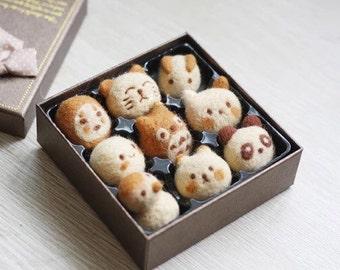 Totoro Wagashi in a Box Needle Felting DIY Kit, Japanese Confections