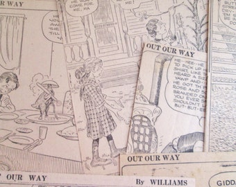 Vintage 1932-1941 Newspaper Comic Clips 20 Pieces Out Our Way by J.R. Williams Quirky Country Hillbilly Themed Weathered Tanned Paper