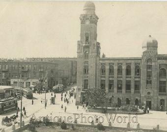 Baku Azerbajan city view trolley antique photo