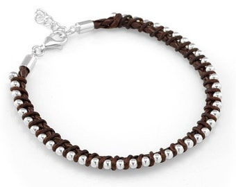 925 Sterling Silver Ball Beads Dark Brown Leather Weaving Cord 7''-8'' Women Men Bracelet