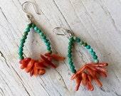 stick coral and turquoise OOAK handmade hoop earrings by ladeDAH! Jewelry
