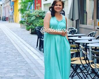 Oversized maxi dress, long cotton dress with pockets