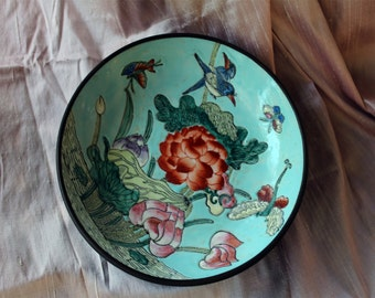 Chinese Painted Bowl with Wooden Pedestal