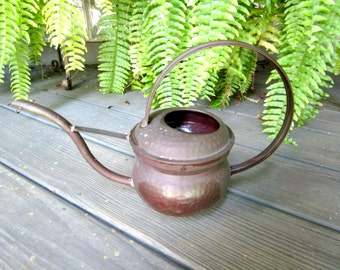Vintage Watering Can, Hammered Metal, Long Spout, Gardening Tools, Garden Decor