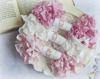 Seam Binding Ribbon / Crinkled Seam Binding / 15 Yards / Shabby Chic Ribbon / Gift Wrapping / Tulip, Aster, White / Gift Wrap Kit