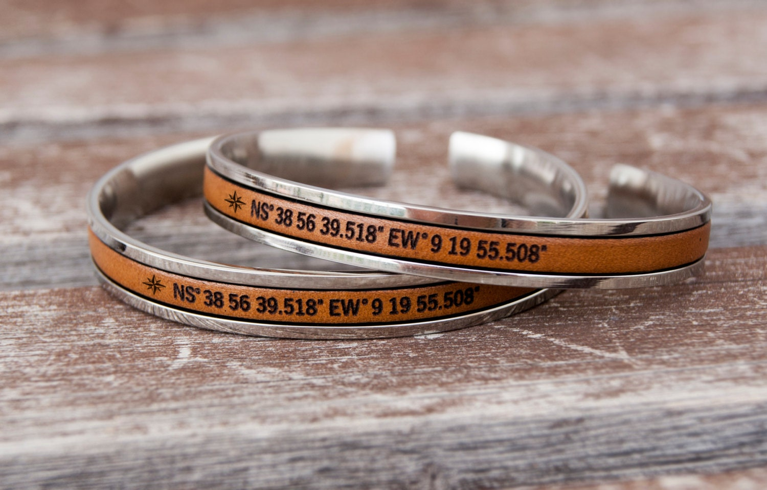 Cuff Bracelet Personalized Long Distance Relationship Couples