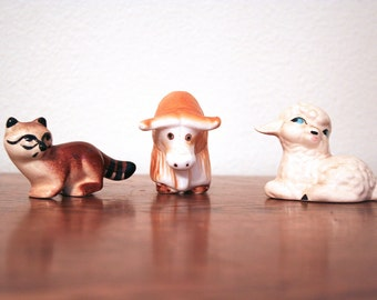 Little Critters!  Cute Ceramic Raccoon, Ox and Lamb