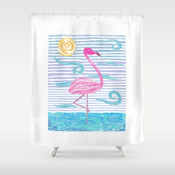 Pink Flamingo Shower Curtain Colorful Flamingo Design Shower