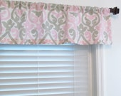 Top Window Treatment  Premier Prints Alex Twill Bella/Pink/French/Gray Curtain Valance Handmade in the USA