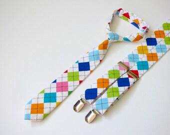 Argyle boy toddler necktie and suspenders, boy baby suspenders and necktie, infant boy outfit, baby boy neck tie set  - made to order