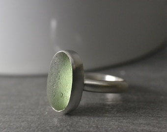 Willow Green English Sea Glass Ring, Size 6.5, Sterling Silver, Handmade Sea Glass Ring By MarkWhiteDesigns