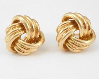 18K French Solid Gold Knot Earrings 14 Grams Estate