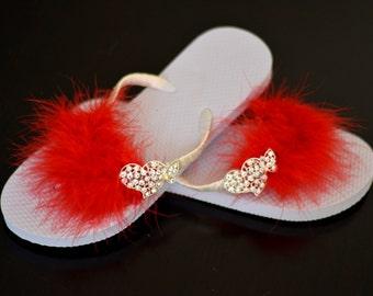Red Bridal Feather Flip Flops Wedding Flip Flops Red Flip Ribbon Brooch Bridsmaid  Flip Flops