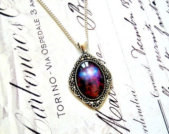 Vintage galaxy glass cabochon long necklace