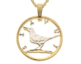 """Croatia Nightingale Coin Pendant and Necklace, Croatia Coin Hand Cut, 14 Karat Gold and Rhodium Plated, 1"""" in Diameter, ( # 865 )"""