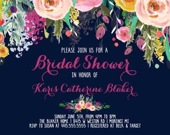 Navy Bridal Shower Invitation, Watercolor Flowers Invitation, Floral Invitation, Shower Invitation, Floral Invite, Flower Invite, Invite-sfc