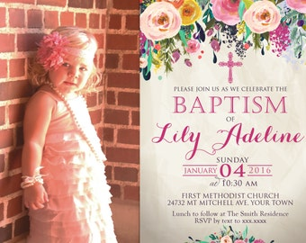 Floral Baptism Invitation. Flower Baptism Invitation, Great for any Baptism, Christening, Dedication ,First Communion. Girl Baptism- sfc