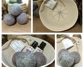 Heather Grey Farmhouse Laundry Set:  Three Triple Felted 100% Wool Dryer Balls in a Handmade Coiled Basket