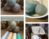 Seaglass Farmhouse Laundry Set:  Three Triple Felted 100% Wool Dryer Balls in a Handmade Coiled Basket
