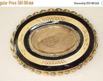 Antique Victorian Mourning Hair Black Enamel 14k Gold Accents Gold Filled Brooch